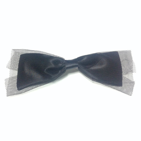 Tulle Lace Satin Bow Clip in Black