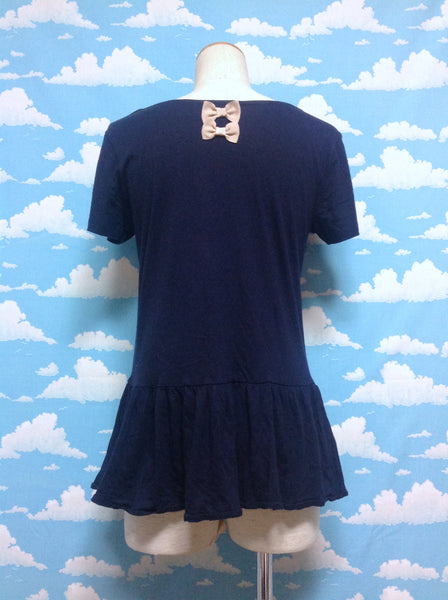 Twin Mini Ribbon Back Short Sleeved Cutsew in Navy from Earth Music & Ecology