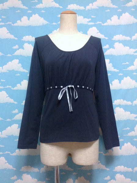 Underbust Ribbon Decoration Long Sleeve Cutsew in Navy