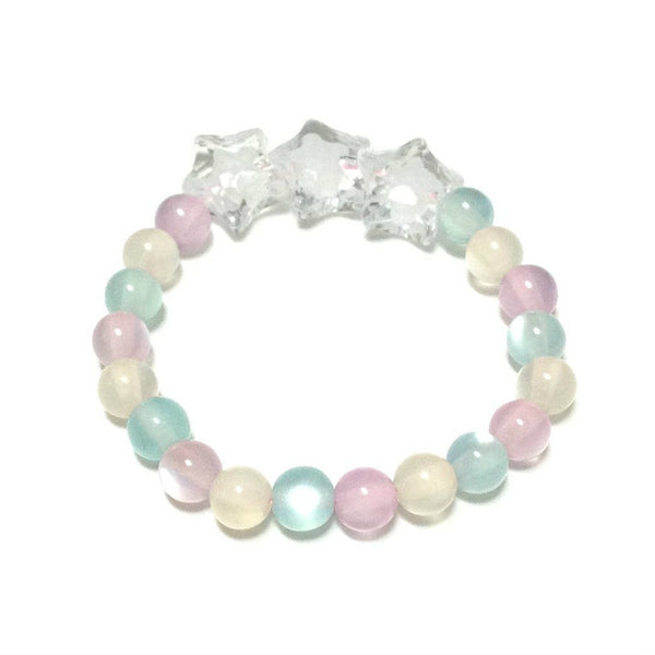 Warabi Mochi Star Shower Bracelet in White x Lavender x Turquoise from Pastel Skies