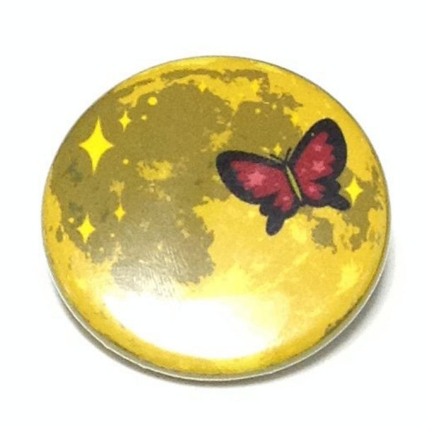 Yellow Moon and Red Butterfly Badge