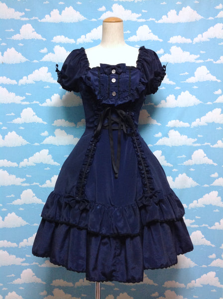 Yoke Switched OP (One Piece) in Navy x Black (2013 second release) from Metamorphose Temps de Fille