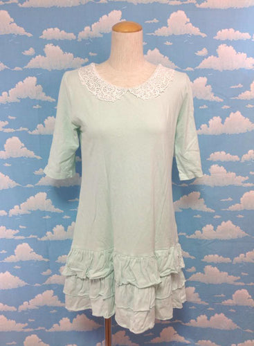 Tiered Skirt OP with Lace Collar in Mint from SWIMMER
