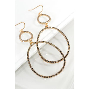 Pave Double Oval Hook Earrings - Kurvacious Boutique