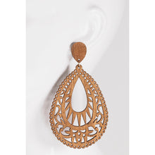 Load image into Gallery viewer, Wood Tear Drop Earrings - Kurvacious Boutique