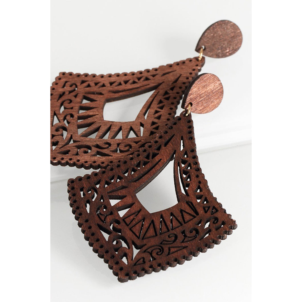 Wood Filigree Earrings - Kurvacious Boutique