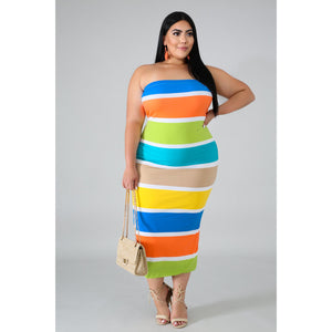 Color Block Tube Dress - Kurvacious Boutique