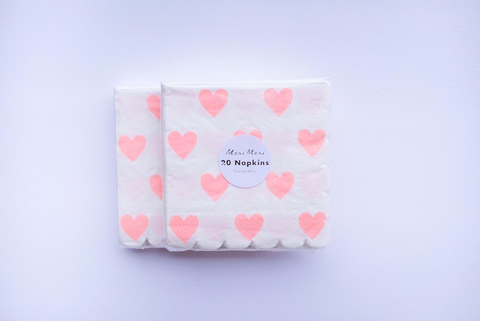 Pink Hearts Small Napkins