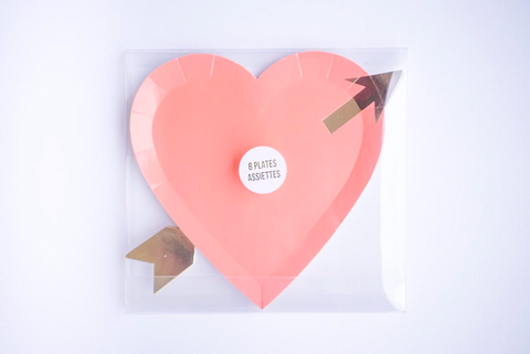 Pink Heart Golden Arrow Plates