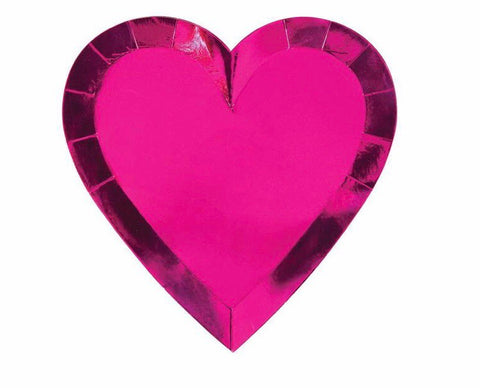 Valentine's Hot Pink Hearts Plates