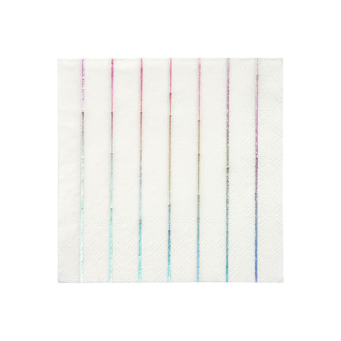 Silver Holographic Striped Small Napkins