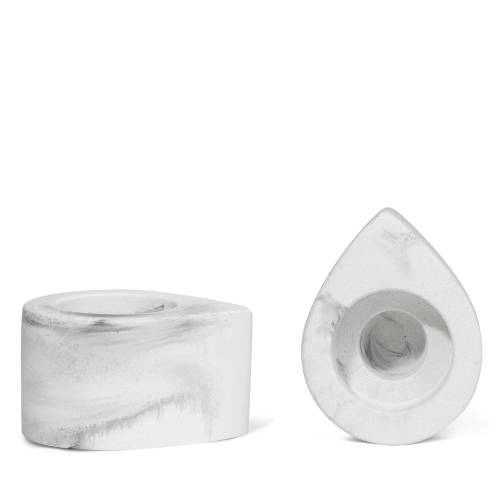 Flirt Marbled Candle Holders White