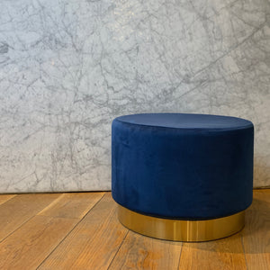 Round Pouf Blue & Gold