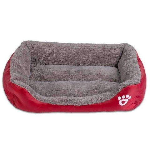 Bed With Paw Print - Wine Red / S - Beds