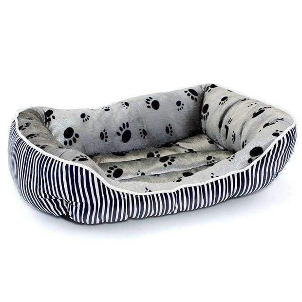Bed With Stripes And Paw Pattern - Blue / L