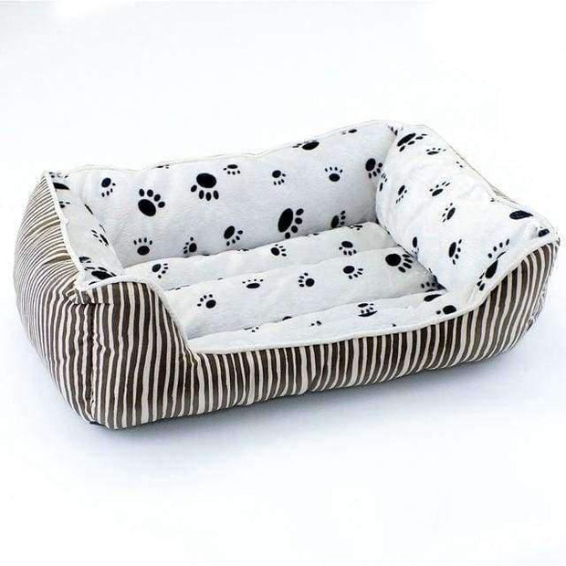 Bed With Stripes And Paw Pattern - Brown / L