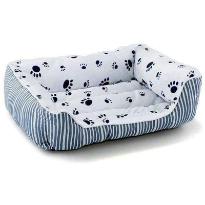 Rubio Rules | Bed with Stripes and Paw Pattern | Dog Supplies