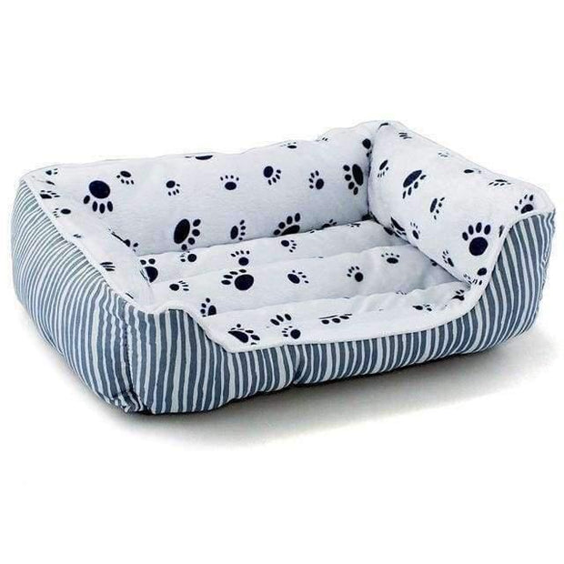 Bed With Stripes And Paw Pattern - Grey / L