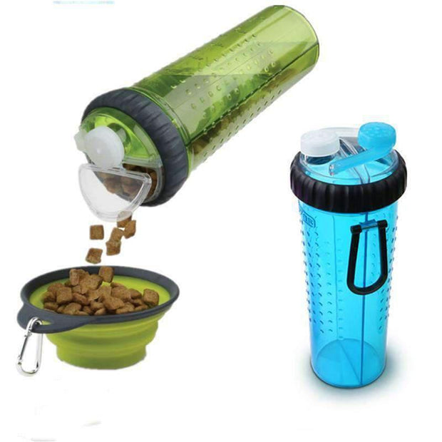 Food & Drink Bottle with Collapsible Bowl