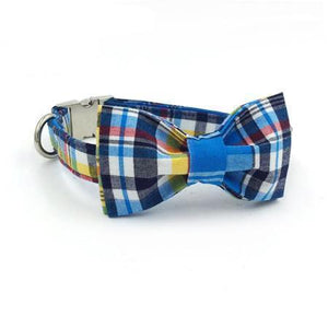 Blue & Yellow Scottish Plaid Collar with Bow Tie