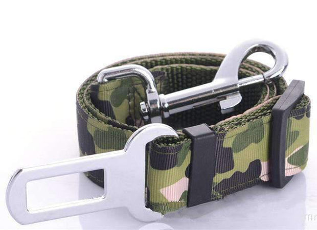 Camouflage Safety Seat Belt Leash - Green - Leashes