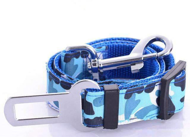 Camouflage Safety Seat Belt Leash - Blue - Leashes