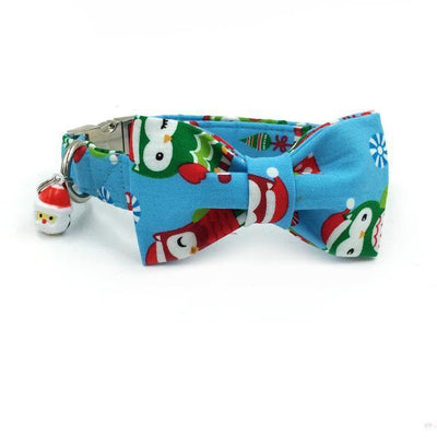 Xmas Owls Collar with Bow Tie