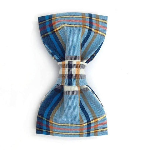 Blue Plaid Collar With Bow Tie
