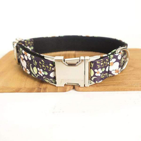 Purple Collar With Chrysanthemum Print - Xs