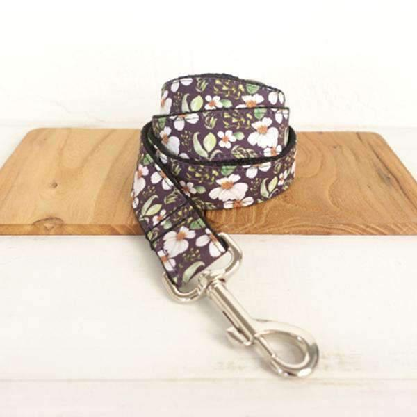 Purple Leash with Chrysanthemum Print