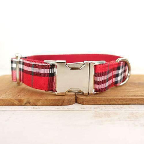 Red Plaid Collar - Xs