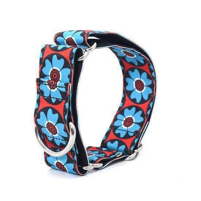 Collar Flower Power Blue & Red - L