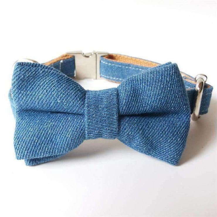 Rubio Rules | Blue Denim Collar with Bow Tie | Dog Supplies