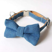 Blue Denim Collar With Bow Tie - L