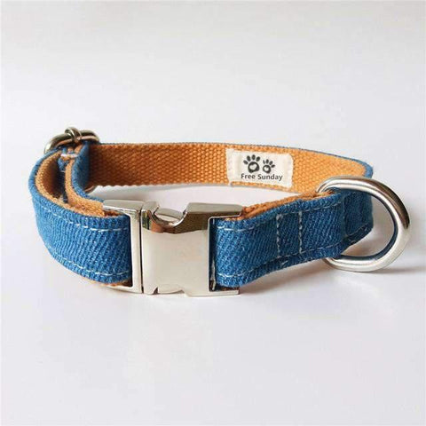 Blue Denim Collar With Bow Tie