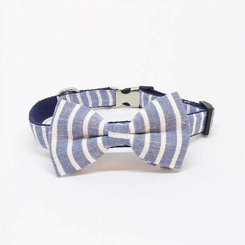 Blue Striped Collar With Bow Tie