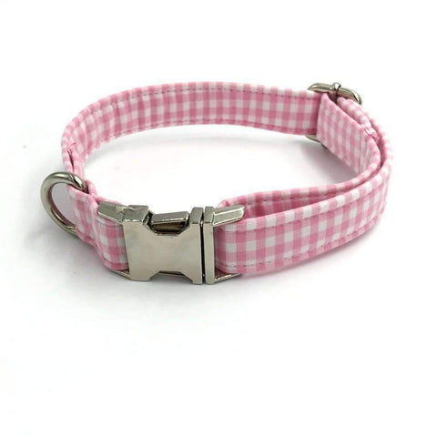 Rubio Rules | Pink Checkered Collar with Bow Tie | Dog Supplies