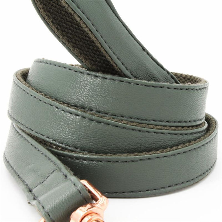 Dark Green Leather Leash