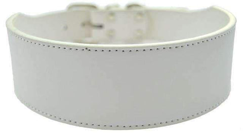 Wide Leather Collar - White / M