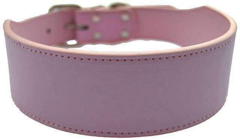 Wide Leather Collar - Pink / M