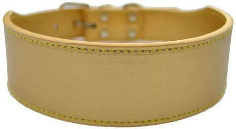 Wide Leather Collar - Gold / M