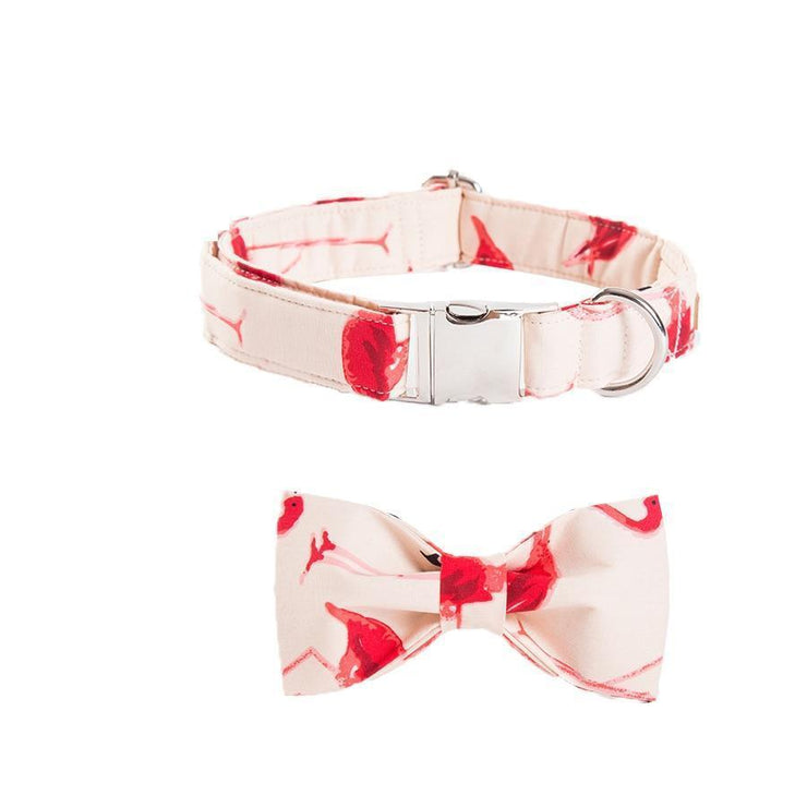 Pink Flamingo Collar with Bow Tie