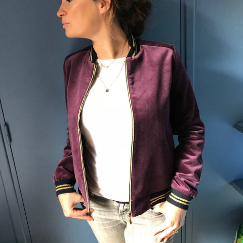 Teddy- Blouson Velours Prune