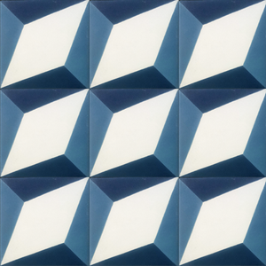 geometric blue / white concrete tile - Handmade Tiles // Margate