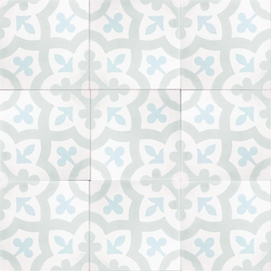 floral pattern white / grey / blue concrete tile - Handmade Tiles // Margate