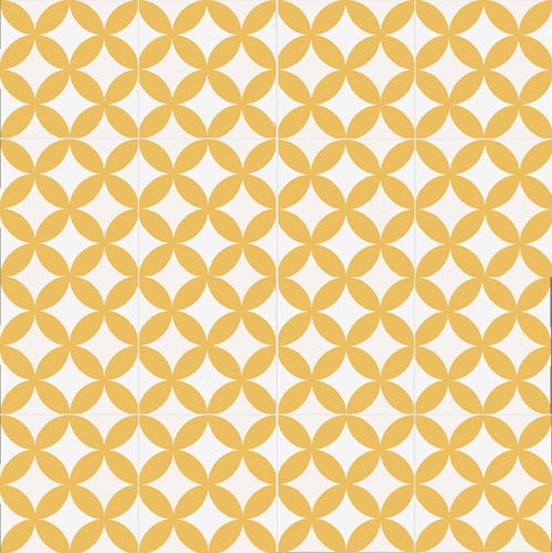 floral pattern yellow / white concrete tile