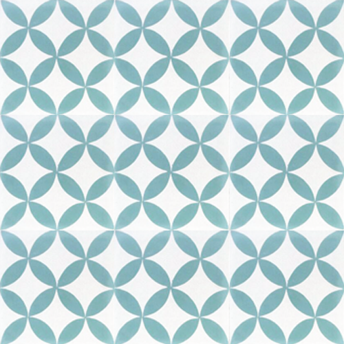 floral pattern turquoise / white concrete tile - Handmade Tiles // Margate