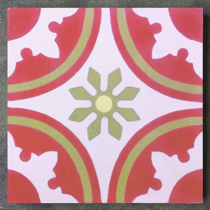 traditional pattern red / pink / yellow concrete tile - Handmade Tiles // Margate