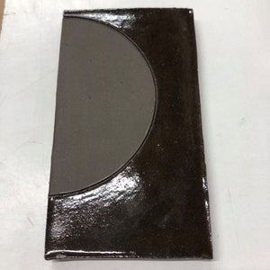 natural matte & high gloss glaze black clay tile - inlaid with matte circle // Margate Tile Works