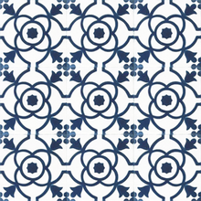 floral pattern blue / white concrete tile - Handmade Tiles // Margate